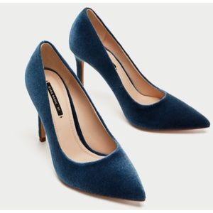 ✨ Zara | Blue Velvet Heels